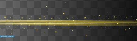 Abstract yellow laser beam. Transparent isolated on black background. Vector illustration.the lighting effect.floodlight directional 向量圖像
