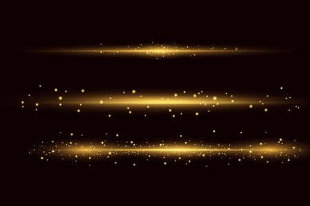 Yellow horizontal lens flares pack. Laser beams, horizontal light rays. Beautiful light flares.