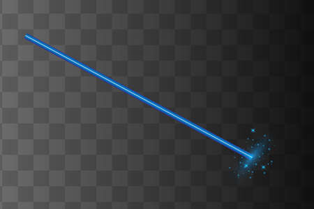 Abstract blue laser beam. Transparent isolated on black background. Vector illustration.the lighting effect.floodlight directional
