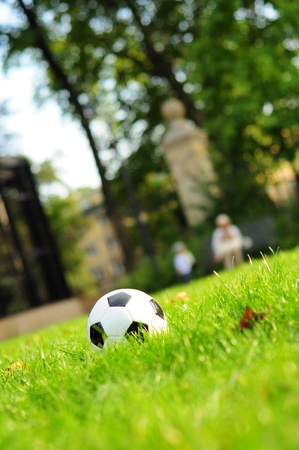 Football on a grass Stock Photo