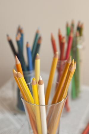 Colour pencils in glass