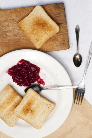 toast with raspberry jam photo
