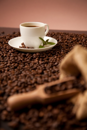 cup of coffee on roasted coffee beans