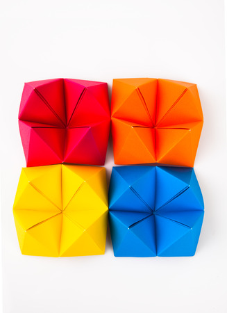 Colourful origami figures  Stock Photo