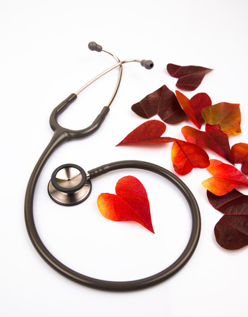attac: Stetoscope with a heart shaped leaf