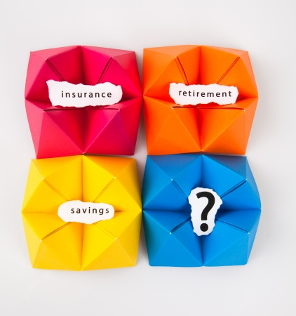 Colourful origami figures with signs Stock Photo