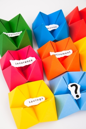 Colourful origami figures with signs photo