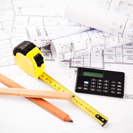 construction plans: Architectural accessories Stock Photo