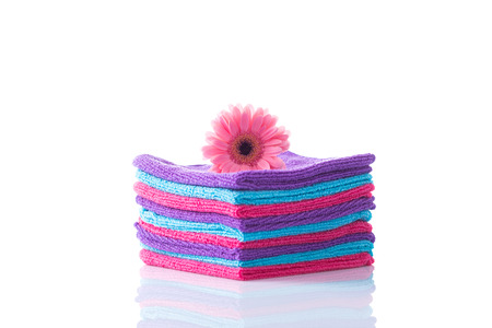 Flower and towels - cleaning Stock Photo