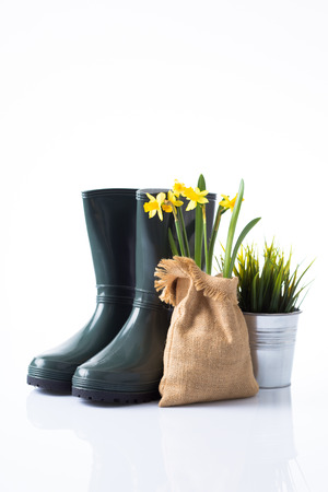 Garden boots, daffodils in jute and grass in a metal pot