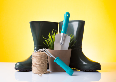 Garden equipment  boots, rake, shovel, pot, plant  over yellow background