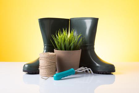 Garden equipment  boots, rake,  pot, plant  over yellow background