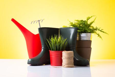Garden equipment  boots, rake, shovel, pot, plant  over yellow background