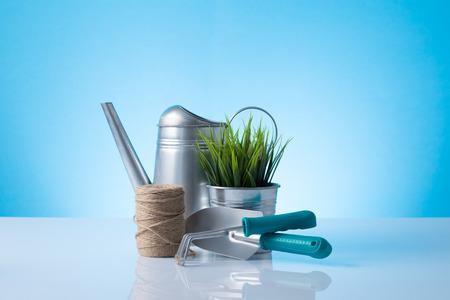 Garden equipment  watering canshovel, rake, , pot  over blue background