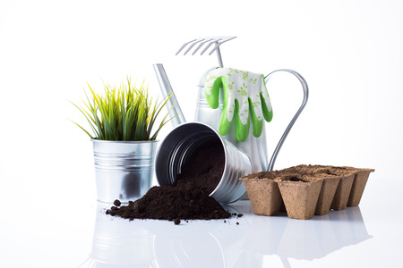 Subtle metal gardening items and flowers composition isolated on white Stock Photo