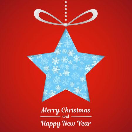 Cartolina di Natale con stelle su sfondo rosso. Vettore.