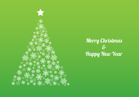Christmas tree with white snowflakes and wishes on green background. Vector. Illustration