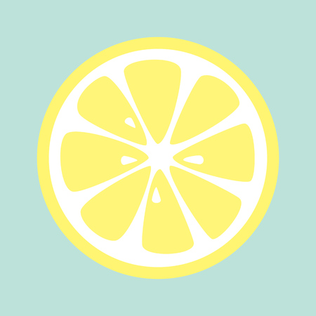 limon caricatura: Slice of lemon on blue background. Vector. Vectores