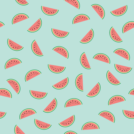 Seamless texture with watermelons on a blue background. Wrapping paper. Vector. Illustration