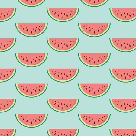 Naadloze textuur met sneetjes watermeloen. Vector. Vector Illustratie