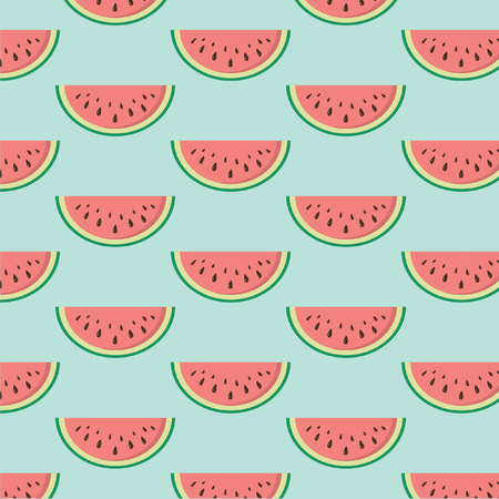 Seamless texture with slices of watermelon. Vector. Ilustração Vetorial