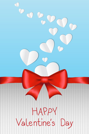 hands tied: Happy Valentines Day card with white paper hearts and shiny red ribbon. Vector illustration. Illustration
