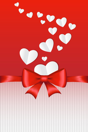 Beautiful card template with paper hearts and glossy red ribbon. Vector illustration. Illustration