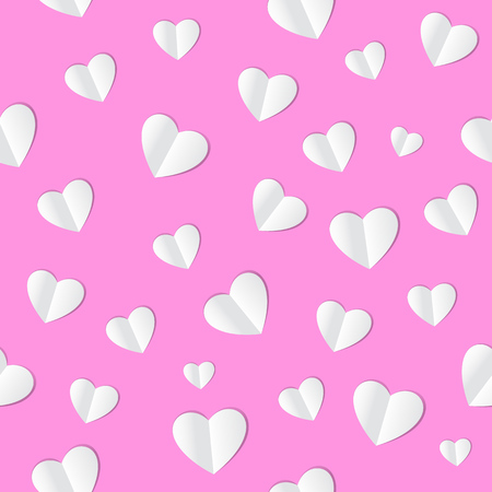 Seamless pattern with paper hearts on pink background. Vector. Illustration