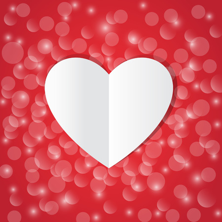 Valentines card on shiny red background. Vector illustration.