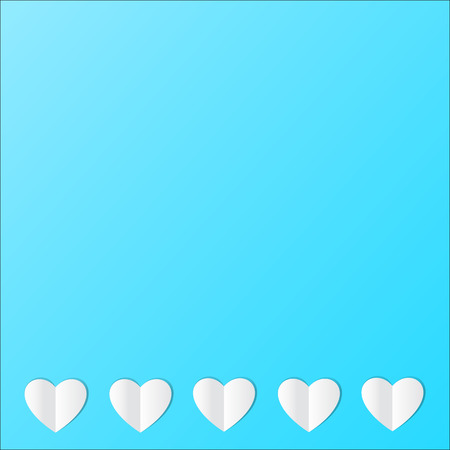 Card with white paper hearts on blue background with a copy. Vector.