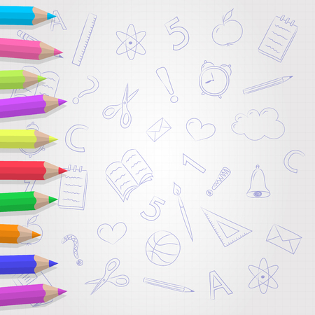 Collection of coloured pencils on paper sheet with cute doodles. Vector.