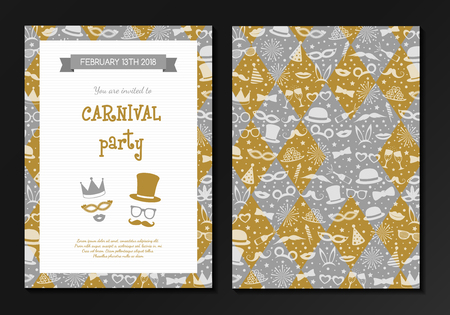 Carnival party - design of a two sided invitation colorful cards vector.