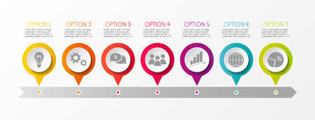Timeline infographic - concept of a company milestone with options and business icons vector. Illustration