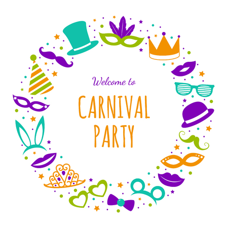 Welcome to carnival party - poster with funny party elements vector. Stock Illustratie