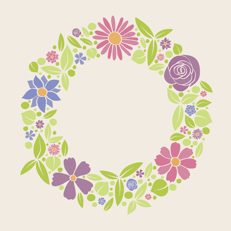 Vintage floral background with hand drawn flowers. Spring, wedding and birthday card. Vector. Illustration