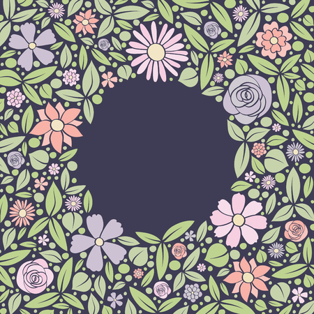 Vintage floral background with hand drawn flowers. Spring, wedding and birthday card Vector. Vettoriali