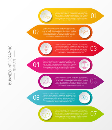 Template of infographic with 7 steps. Vector. Çizim