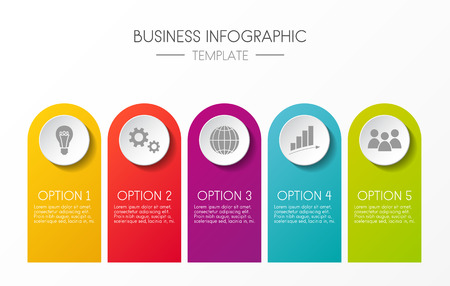 Template of infographic with five steps vector.