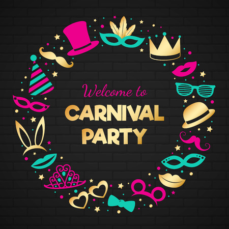 Glossy poster with funny costumes for Carnival Party.