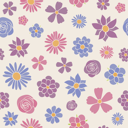 Cute floral background - wallpaper. Vector illustration. Çizim