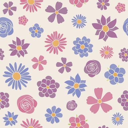 Cute floral background - wallpaper. Vector illustration. Vettoriali