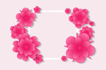 Beautiful background with flowers and copy space. Vector illustration. Illustration