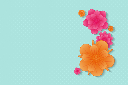 Beautiful background with flowers and copy space vector.