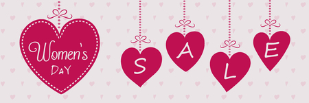 Womens Day Sale - beautiful banner with hearts. Vector illustration. Illustration