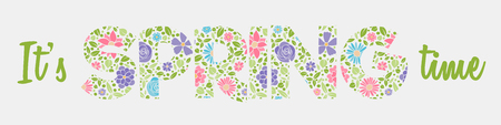 Spring is coming - colourful text with cute hand drawn flowers. Vector.