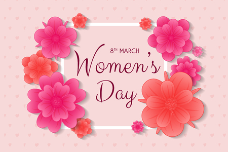 Womens Day - card with flowers and greeting. Vector.