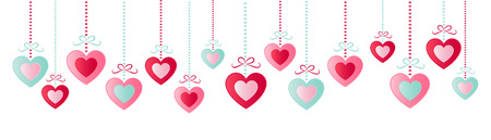 Hanging hearts, concept of a panoramic banner. 矢量图像
