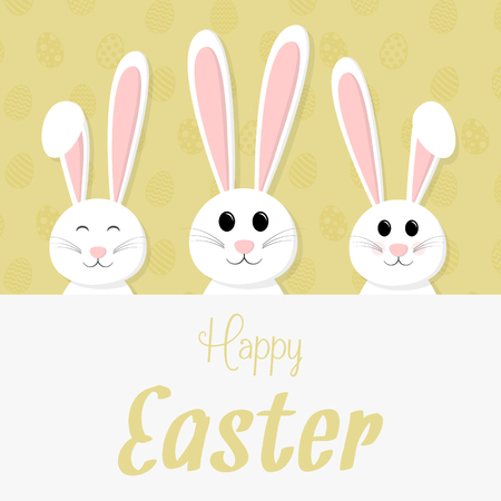 Happy Easter concept card with smiley bunny vector illustration