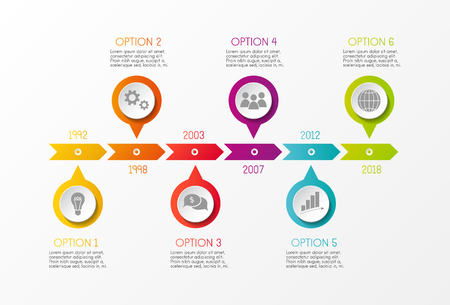 Multicolored company timeline - infographic with options vector.