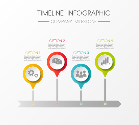 Multicolored company timeline - infographic with options. Vector.